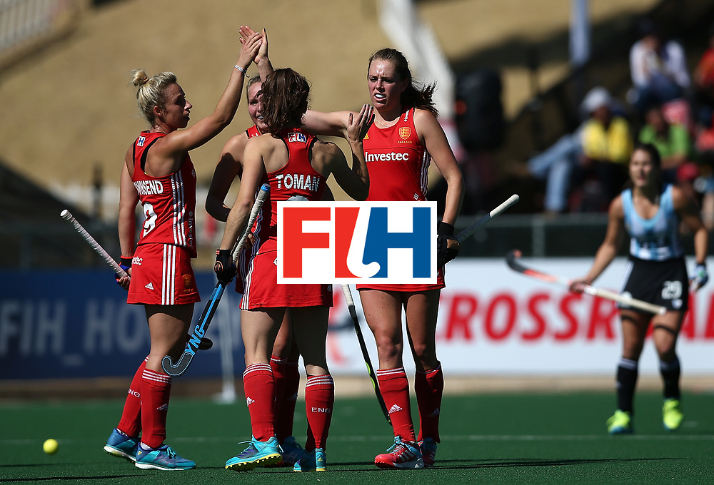 JOHANNESBURG, SOUTH AFRICA - JULY 23:  Giselle Ansley of England celebrates her goal with team mates during day 9 of the FIH Hockey World League Women's Semi Finals 3rd/ 4t place match between England and Argentina at Wits University on July 23, 2017 in Johannesburg, South Africa.  (Photo by Jan Kruger/Getty Images for FIH)