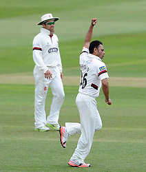 Somerset's Abdur Rehman celebrate the wicket of Nottinghamshire's Samit Patel. - Photo mandatory by-line: Harry Trump/JMP - Mobile: 07966 386802 - 16/06/15 - SPORT - CRICKET - LVCC County Championship - Division One - Day Three - Somerset v Nottinghamshire - The County Ground, Taunton, England.