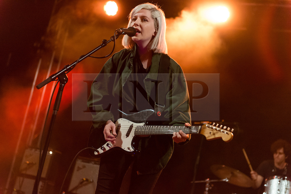 © Licensed to London News Pictures. 28/08/2015. Reading Festival, UK.  Alvvays  performing at Reading Festival 2015 28 August 2015 Day 1.  Alvvays is pronounced Always. In this picture - Molly Rankin. Photo credit: Richard Isaac/LNP