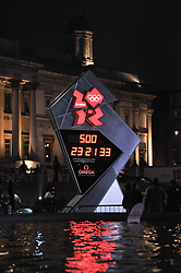 The London 2012 Olympic countdown clock in Trafalgar Square, London photographed on 14th March 2011.  One side has the countdown to the Olympic Games the other counts down to the Paralympic Games.<br /> The Olympic Games Countdown side.