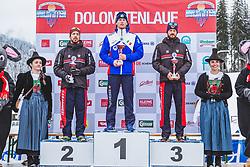 19.01.2019, Loipe Obertilliach, AUT, 45. Dolomitenlauf, Classicrace, im Bild v.l.: 2. Platz Lorenzo Romani (ITA), 1. Platz Stefan Zelger (ITA), 3. Platz Claudio Muller (ITA) // during the 45th Dolomitenlauf Classicrace at Obertilliach, Austria on 2019/01/19, EXPA Pictures © 2019 PhotoCredit: EXPA/ Dominik Angerer