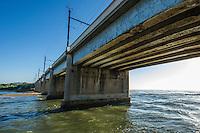 Umkhomazi River Bridge at the estuary mouth. Aliwal Shoal Marine Protected Area. Southern KwaZulu Natal. South Africa