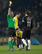 FODBOLD: Erik Marxen (Randers FC) får en advarsel af dommer Jakob Kehlet under kampen i Superligaen mellem Brøndby IF og Randers FC den 24. februar 2019 på Brøndby Stadion. Foto: Claus Birch.