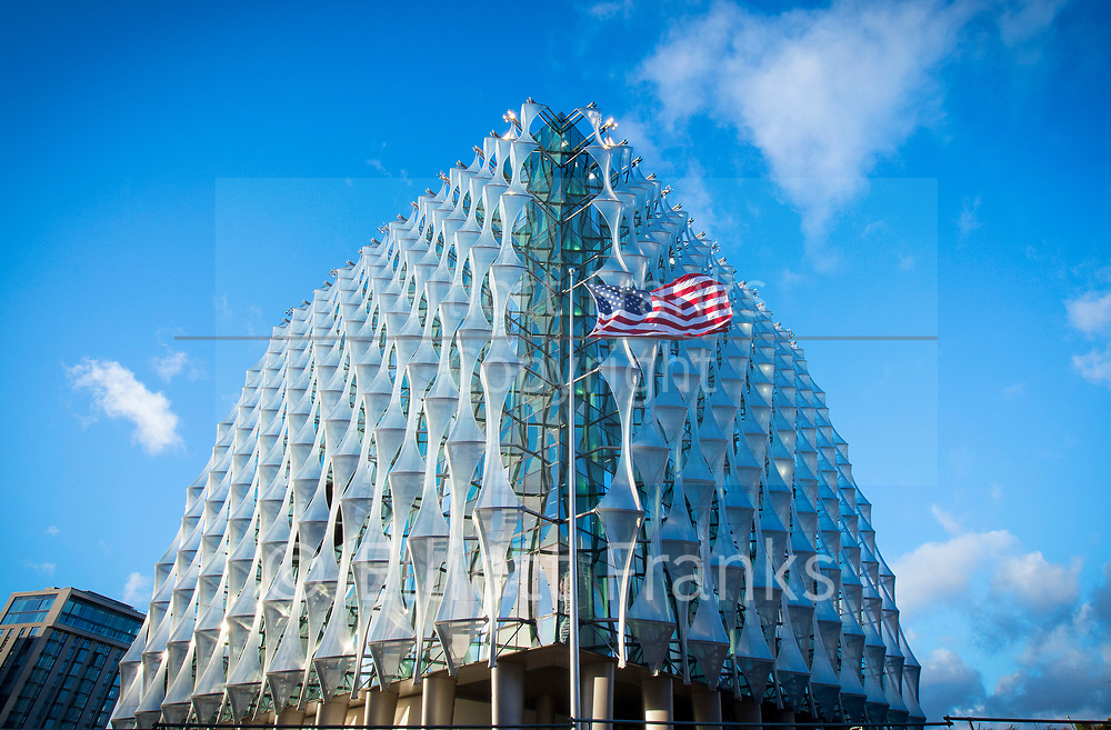 "The new Embassy of the United States of America<br /> 33 Nine Elms Lane, London, Great Britain <br /> 15th January 2018 <br /> <br /> The United States has built a new Embassy in London   In 2008 they announced the purchase of the site in the Nine Elms area of Wandsworth, and set out to produce a modern, welcoming, safe and energy efficient embassy for the 21st century.<br /> <br /> Regarding the move, Ambassador Robert Tuttle, who led the search for a new site, said: ""We looked at all our options, including renovation of our current building on Grosvenor Square. In the end, we realized that the goal of a modern, secure and environmentally sustainable Embassy could best be met by constructing a new facility.""<br /> <br /> The design was opened up to competition to ensure the new facility reflects the best of modern design, incorporates the latest in energy-efficient building techniques, and celebrates the values of freedom and democracy.<br /> <br /> When announcing the winning design by Philadelphia-based architects KieranTimberlake, Ambassador Susman said ""We hope to contribute to the architectural heritage and future history of this great city. We will be, now and in the future, a vital contributor and a good citizen in the community of our new home.""<br /> <br /> <br /> Photograph by Elliott Franks"