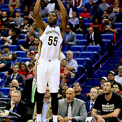 Nov 1, 2016; New Orleans, LA, USA; New Orleans Pelicans guard E'Twaun Moore (55) shoots a three point basket against the Milwaukee Bucks during the third quarter of a game at the Smoothie King Center. Mandatory Credit: Derick E. Hingle-USA TODAY Sports