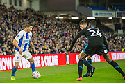 Anthony Knockhaert (Brighton) with ball along with Tosin Adarabioyo (West Brom) & Conor Townsend (West Brom) during the FA Cup fourth round match between Brighton and Hove Albion and West Bromwich Albion at the American Express Community Stadium, Brighton and Hove, England on 26 January 2019.