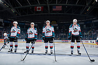 KELOWNA, CANADA - JANUARY 10:  Carsen Twarynski #18, Nolan Foote #29, Leif Mattson #28, Cal Foote #25 and Braydyn Chizen #22 of the Kelowna Rockets line up against the Spokane Chiefs]  on January 10, 2017 at Prospera Place in Kelowna, British Columbia, Canada.  (Photo by Marissa Baecker/Shoot the Breeze)  *** Local Caption ***
