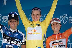 An all-American podium of the overall winners, with Kristin Armstrong (USA of Twenty16 Ridebiker Cycling Team (left), Megan Guarnier (USA) (middle) and Evelyn Stevens (USA) of Boels-Dolmans Cycling Team (right) after the fourth, 70 km road race stage of the Amgen Tour of California - a stage race in California, United States on May 22, 2016 in Sacramento, CA.