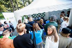 Press corner during Davis Cup Slovenia vs. South Africa on September 14, 2013 in Tivoli park, Ljubljana, Slovenia. (Photo by Vid Ponikvar / Sportida.com)