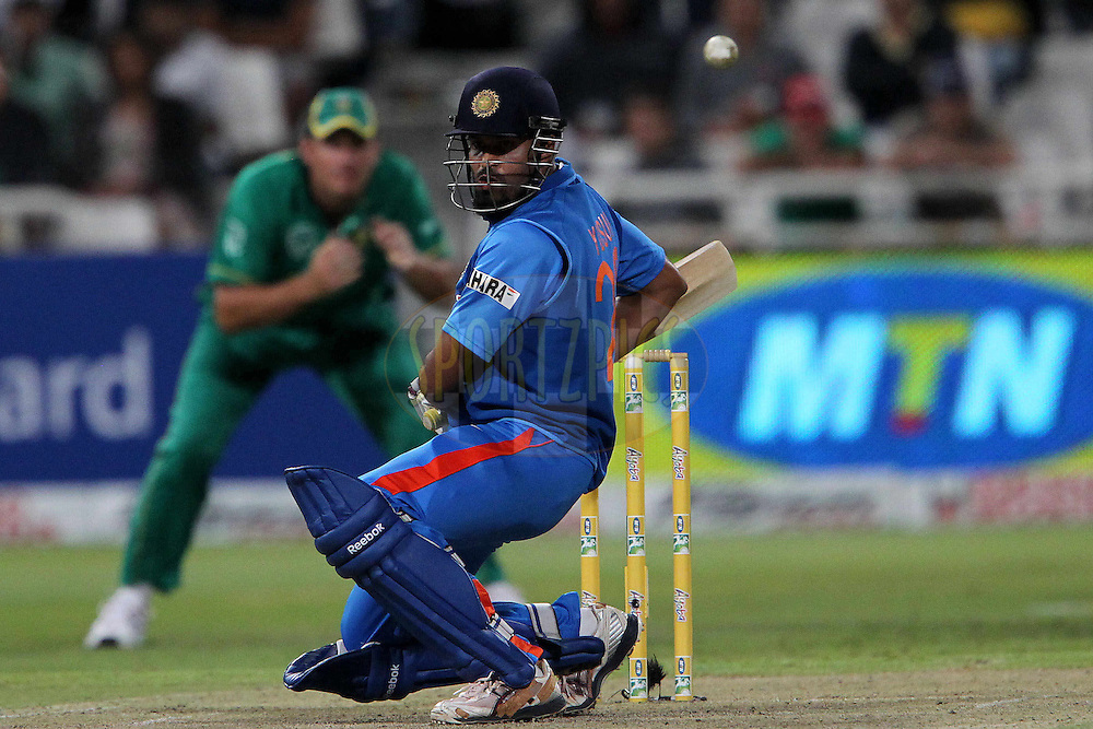 Yusuf Pathan of India avoids a deliovery from Dale Steyn of South Africa  during the 3nd ODI between South Africa and India held at Sahara Park Newlands Stadium in Cape Town, Western Cape, South Africa on the 18th January 2011..Photo by Ron Gaunt/BCCI/SPORTZPICS
