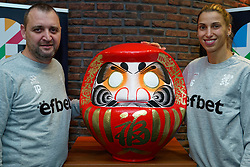 06–01-2020 NED: CEV Tokyo Volleyball European Qualification Women, Apeldoorn<br /> Press moment and representatives of the eight national teams for one spot Tokyo 2020 / Coach Ivan Petkov of Bulgaria, Elitsa Vasileva #16 of Bulgaria  and Daruma, the founder of the Zen.