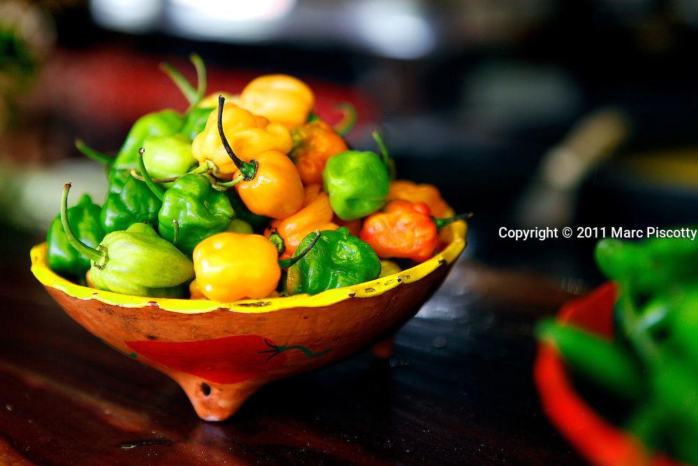 SHOT 11/20/11 1:17:21 PM - A bowl of habanero peppers at Mateo's, a roadside restaurant in Tulum, Mexico. The habanero chili is one of the more intensely piquant species of chili peppers of the Capsicum genus. Habaneros are an integral part of Yucatecan food. Habanero chilies accompany most dishes in Yucatán, either in solid or purée/salsa form. Tulum (sometimes Tulum Pueblo) is the largest community in the municipality of Tulum, Quintana Roo, Mexico. It is located on the Caribbean coast of the state, near the site of the archaeological ruins of Tulum. Several years ago, Tulum Pueblo was a quiet village 2 km (1.5 mi) from the archaeological site, and tourism outside of the ruins was limited to a few small shops and simple cabanas on the beach. (Photo by Marc Piscotty / © 2011)