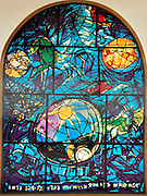 The Tribe of Simeon. The Twelve Tribes of Israel depicted in stained glass By Marc Shagall (1887 - 1985). The Twelve Tribes are Reuben, Simeon, Levi, Judah, Issachar, Zebulun, Dan, Gad, Naphtali, Asher, Joseph, and Benjamin.