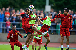 ROTTACH-EGERN, GERMANY - Friday, July 28, 2017: Liverpool's Joel Matip, Dejan Lovren, Roberto Firmino and Emre Can during a training session at FC Rottach-Egern on day three of the preseason training camp in Germany. (Pic by David Rawcliffe/Propaganda)