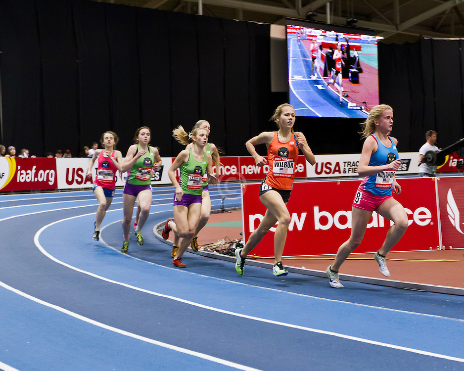 New Balance Indoor Grand Prix track meet: Junior GIrls Mile, Hollowood, Wilbur,
