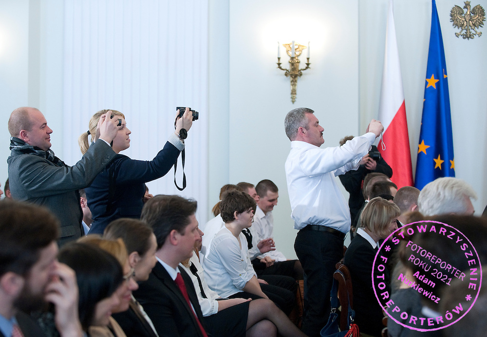 Athletes of Special Olympics attend a meeting with First Lady Anna Komorowska in Presidential Palace in Warsaw on February 26, 2013..The mission of Special Olympics is to provide sports training and athletic competition for children and adults with intellectual disabilities...Poland, Warsaw, February 26, 2013..Picture also available in RAW (NEF) or TIFF format on special request...For editorial use only. Any commercial or promotional use requires permission...Photo by © Adam Nurkiewicz / Mediasport