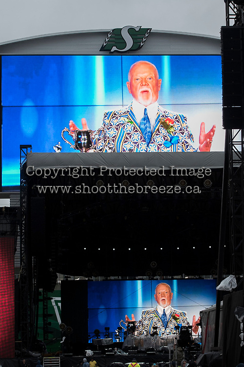 REGINA, SK - MAY 17: Don Cherry is seen on the screen at Mosaic Stadium on May 17, 2018 in Regina, Canada. (Photo by Marissa Baecker/Shoot the Breeze)