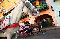 """Horse drawn buggies provide scenic rides through the streets of the """"Old City"""" in Cartagena, a unique travel destination on Colombia's Caribbean coast. (Photo/Scott Dalton)"""