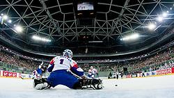 Andrej Hocevar of Slovenia blocks a puck during at ice-hockey match between Slovenia and Japan at IIHF World Championship DIV. I Group A Slovenia 2012, on April 16, 2012 at SRC Stozice, Ljubljana, Slovenia. (Photo By Matic Klansek Velej / Sportida.com)