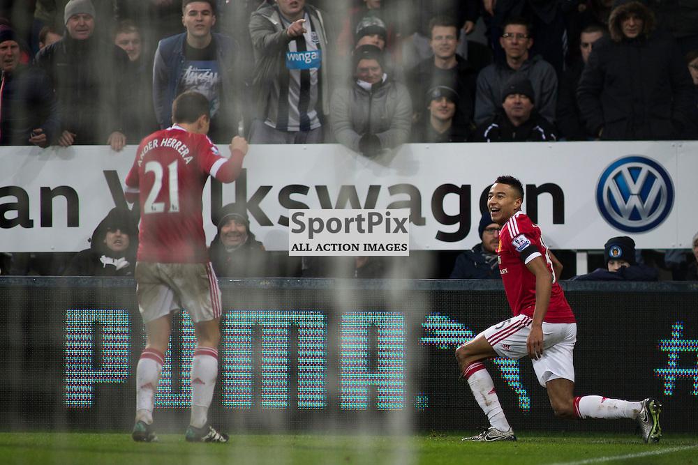 Newcastle v Manchester Utd 12 January 2016<br />Jesse Lingard celebrates scoring a goal<br />(c) Russell G Sneddon / SportPix.org.uk