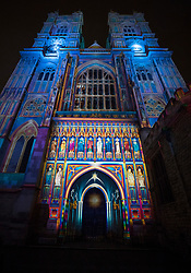 © Licensed to London News Pictures. 17/01/2018. London, UK. Westminster Abbey's West face is lit by French artist Patrice Warrener 'The Light of the Spirit Chapter 2' during the Lumiere London festival. Running from 18th-21st January 2018 more than 50 artworks are transforming the capital's streets, buildings and public spaces into an immersive nocturnal art exhibition of light and sound. Locations include King's Cross, Fitzrovia, Mayfair, West End, Trafalgar Square, Westminster, Victoria, South Bank and Waterloo. Photo credit: Peter Macdiarmid/LNP