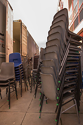A thousand desks and a thousand chairs from the now closed Portobello High School are set to embark on a new life - in Africa. The City of Edinburgh Council is working with a number of partners, including charity Chance for Africa, to find new homes for surplus equipment from the 1960s building. While some equipment is being moved to other schools across the city, some is travelling much further. Former pupil Sandra Abdulai returned to her old school, along with her husband Zak Abdulai, founder of Chance for Africa to help start the tables and chairs off on their journey.<br /> <br /> <br /> © Jon Davey/ EEm