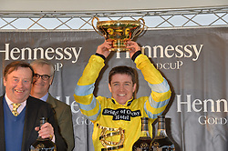 Jockey BARRY GERAGHTY at the 2013 Hennessy Gold Cup at Newbury Racecourse, Berkshire on 30th November 2013.