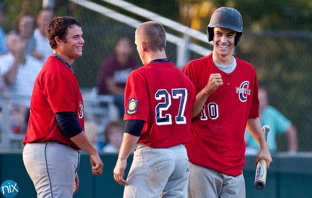 Concord Post 51's Connor Lippincot (10) celebrates after hitting a home run against Kannapolis Post 115 Monday night in American Legion baseball action at Central Cabarrus High School. Concord won the game 14-1.  (Photo by James Nix)