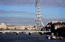 UK ENGLAND LONDON 25DEC05 - The London Eye and Westminster Bridge in central London during Christmas Day morning...jre/Photo by Jiri Rezac..© Jiri Rezac 2004..Contact: +44 (0) 7050 110 417.Mobile:  +44 (0) 7801 337 683.Office:  +44 (0) 20 8968 9635..Email:   jiri@jirirezac.com.Web:    www.jirirezac.com..© All images Jiri Rezac 2005 - All rights reserved.
