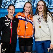 Zwemmen Amsterdam NJJK korte baan 2015: (L-R) Josien Wijkhuijs, Marrit Steenbergen, Jasmijn Boon