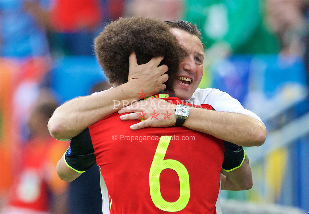 BORDEAUX, FRANCE- Saturday, June 18, 2016: Belgium manager Marc Wilmots celebrates the second goal with soccer Axel Witsel during the UEFA Euro 2016 Championship Group E match against the Republic of Ireland at Stade de Bordeaux. (Pic by Paul Greenwood/Propaganda)