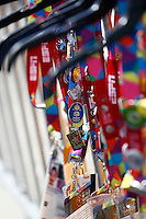 1 August 2015: Special Olympic World Games Los Angeles Sailing Finals in Long Beach, California. Athlete lanyards filled with pins that are traded during the games.
