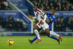 February 23, 2019 - Leicester, England, United Kingdom - Michy Batshuayi of Crystal Palace  on the ball with Ricardo Pereira of Leicester City chasing him down during the Premier League match between Leicester City and Crystal Palace at the King Power Stadium, Leicester on Saturday 23rd February 2019. (Credit Image: © Mi News/NurPhoto via ZUMA Press)