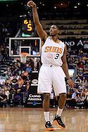 Mar 21, 2016; Phoenix, AZ, USA; Phoenix Suns guard Brandon Knight (3) reacts after making a basket in the first half against the Memphis Grizzlies at Talking Stick Resort Arena. Mandatory Credit: Jennifer Stewart-USA TODAY Sports
