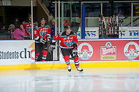KELOWNA, CANADA - OCTOBER 10: Carter Rigby #11 of the Kelowna Rockets enters the ice as the Spokane Chiefs visit the Kelowna Rockets on October 10, 2012 at Prospera Place in Kelowna, British Columbia, Canada (Photo by Marissa Baecker/Shoot the Breeze) *** Local Caption ***
