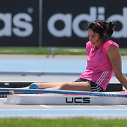 Jenn Suhr, USA, during warm up before the Women's Pole Vault competition at the Diamond League Adidas Grand Prix at Icahn Stadium, Randall's Island, Manhattan, New York, USA. 14th June 2014. Photo Tim Clayton