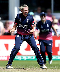 Laura Marsh of England Women celebrates taking the wicket of Shashikala Siriwardena of Sri Lanka Women - Mandatory by-line: Robbie Stephenson/JMP - 02/07/2017 - CRICKET - County Ground - Taunton, United Kingdom - England Women v Sri Lanka Women - ICC Women's World Cup Group Stage