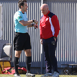 Peter Houston is spoke to by the ref  during the Dumbarton v Falkirk Scottish Championship 06 May 2017<br /> <br /> <br /> <br /> <br /> <br /> (c) Andy Scott | SportPix.org.uk