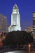 Los Angeles City Hall Building at Dusk