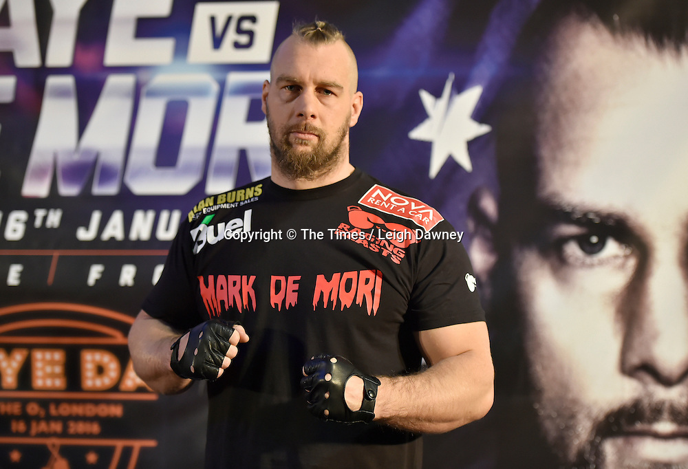 Mark de Mori at the official weigh in ahead of his fight against David Haye. The O2, London. 15th January 2016. Credit: Times Photographer Leigh Dawney