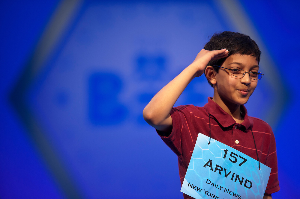 Arvind V. Mahankali, sponsored by Daily News, New York, New York,  salutes the crowd after being eliminated from the finals of the 84th annual Scripps National Spelling Bee in Maryland. There were 13 spellers that advanced to the finals and Mahankali placed tied for third.