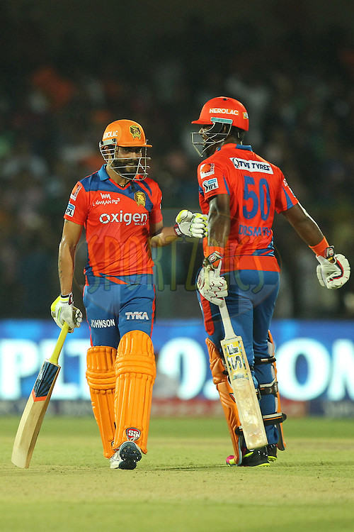 Ravindra Jadeja and Dwayne Smith of Gujrat Lions celebrates win during match 54 of the Vivo Indian Premier League 2016 ( IPL ) between the Gujarat Lions and the Mumbai Indians held at The Green Park, Stadium in Kanpur, India on the 21st  May 2016Photo by Prashant Bhoot / IPL/ SPORTZPICS