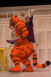 "© Licensed to London News Pictures. 03/07/2014. London, England. Matthew Dudley as The Tiger with Abbey Norman as Sophie. The musical play ""The Tiger Who Came to Tea"" returns to London's West End. With Abbey Norman as Sophie, Jenanne Redman as Mummy and Matthew Dudley as the Tiger. The stage adaptation of Judith Kerr's tale is directed by David Wood. The show opens on 2 July and runs until 7 September 2014 at the Lyric Theatre in London. Photo credit: Bettina Strenske/LNP"