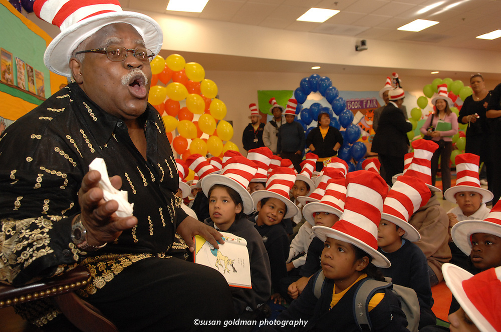 National Education Association President Reg Weaver reads Dr. Seuss's book Green Eggs and Ham to children during Read Across America Day, in Compton, Calif. Now in its 11th year, Read Across America is celebrated on Dr. Seuss' birthday to generate enthusiasm for reading and to motivate children to read. Photo/NEA, Susan Goldman.