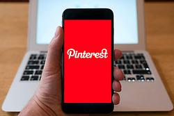 Pinterest social media app home page on smart phone