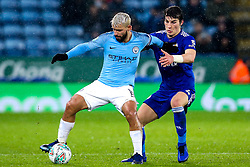 Sergio Aguero of Manchester City takes on Caglar Soyuncu of Leicester City - Mandatory by-line: Robbie Stephenson/JMP - 18/12/2018 - FOOTBALL - King Power Stadium - Leicester, England - Leicester City v Manchester City - Carabao Cup Quarter Finals