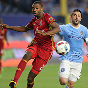 NEW YORK, NEW YORK - June 02:  Aaron Maund #21 of Real Salt Lake challenged by David Villa #7 of New York City FC in action during the NYCFC Vs Real Salt Lake regular season MLS game at Yankee Stadium on June 02, 2016 in New York City. (Photo by Tim Clayton/Corbis via Getty Images)