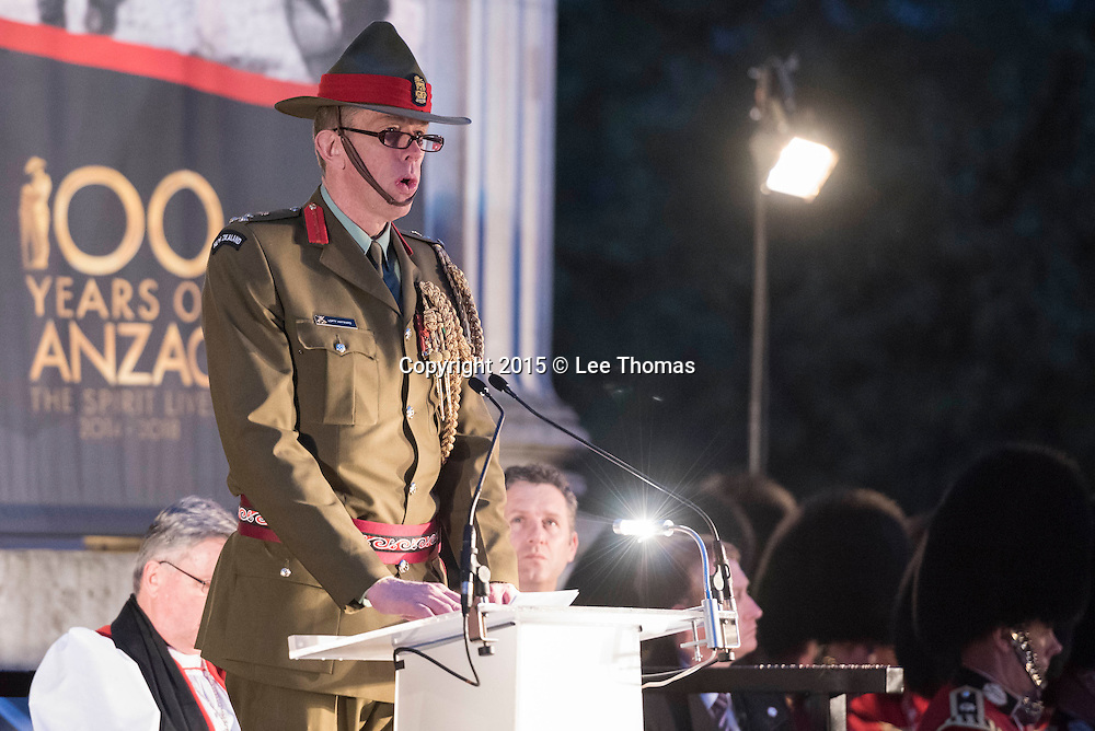 Wellington Arch, Hyde Park Corner, London, UK. 25th April 2015.  The Princess Royal and Vice Admiral Sir Tim Lawrence take part in the Anzac Day Dawn Service at Wellington Arch, Hyde Park Corner, London. This year is especially poignant as 2015 marks the centenary of the Gallipoli Campaign and Anzac Day. Pictured:  Brigadier Anthony (Lofty) Hayward ONZM Head New Zealand Defence Staff London, addresses the crowd. // Lee Thomas, Flat 47a Park East Building, Bow Quarter, London, E3 2UT. Tel. 07784142973. Email: leepthomas@gmail.com. www.leept.co.uk (0000635435)