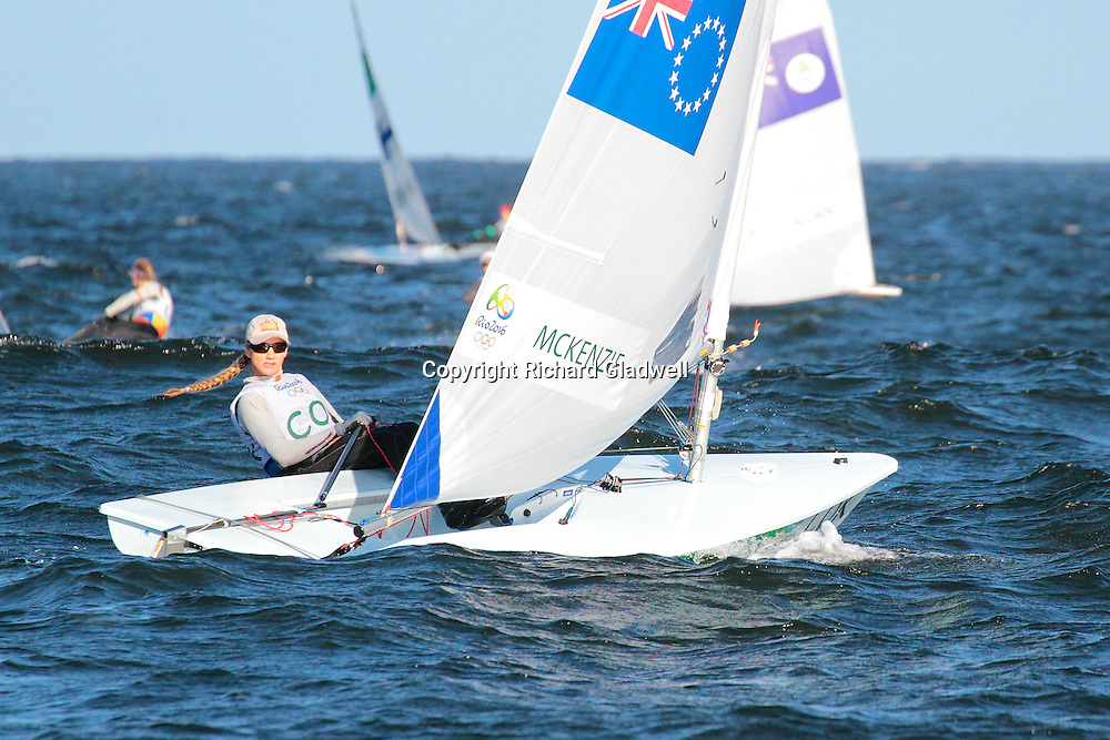 Team McKenzie (Cook Islands) Race 10, Laser Radial.<br /> Rio 2016 Olympics, Rio de Janero, Brazil. Olympic Sailing Day 6, 13 August 2016.<br /> Photo credit: Richard Gladwell / www.photosport.nz