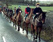 Dessie Cummins lead a group of young trainee jockeys, at Culleenamore, Strandhill, Sligo. Photo: James Connolly/GreenGraph